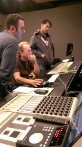 Paul Lipson, Jeff Vaughn, Keith Ukrisna checking the mix at Sonic Fuel