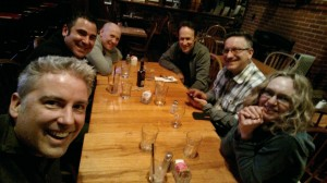 Lance, Paul Lipson, Chase Combs, Lennie Moore, John Broomhall and Gillian Broomhall out on the town