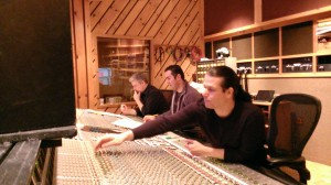 Lance, Paul Lipson and Roy Hendrickson recording the New York Film Chorale singers at Avatar